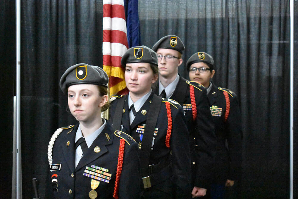 ROTC students prepare to present colors at Bullitt County Chamber of Commerce 2018 Annual Awards Dinner