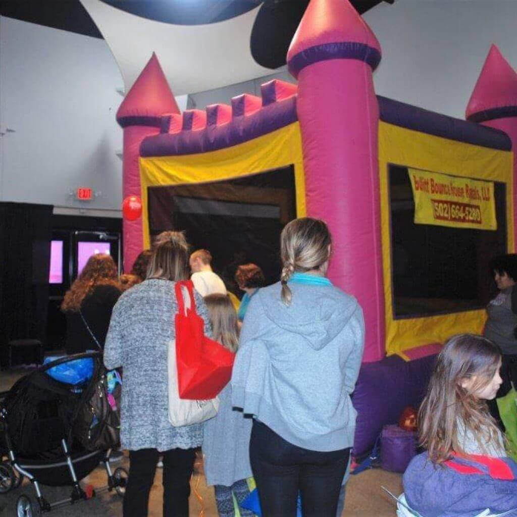 2019 KidsFest - Pink & purple castle bouncy house courtesy of Bullitt Bounce House Rentals