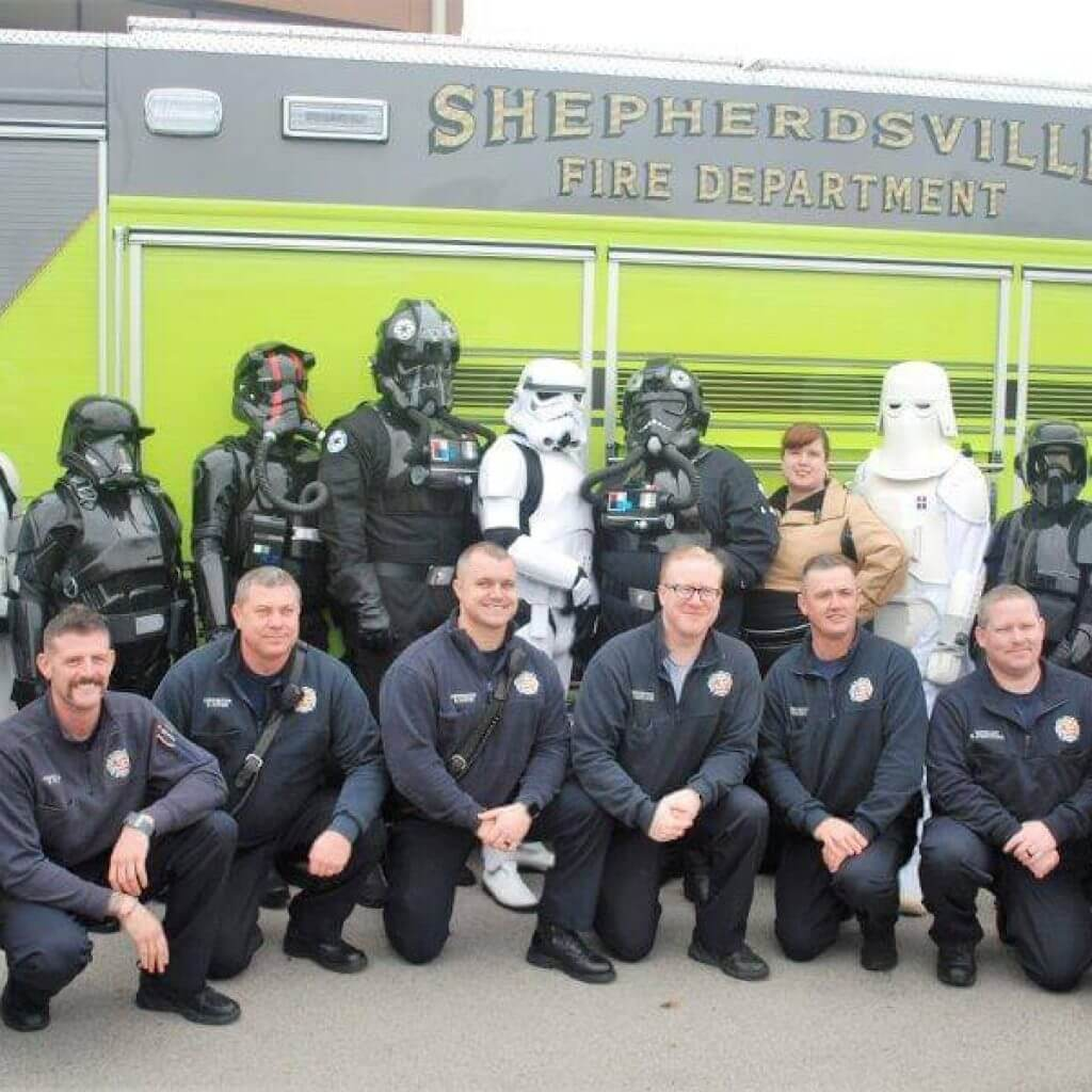 2019 KidsFest - Shepherdsville Fire Deparment poses with the 501st Legion