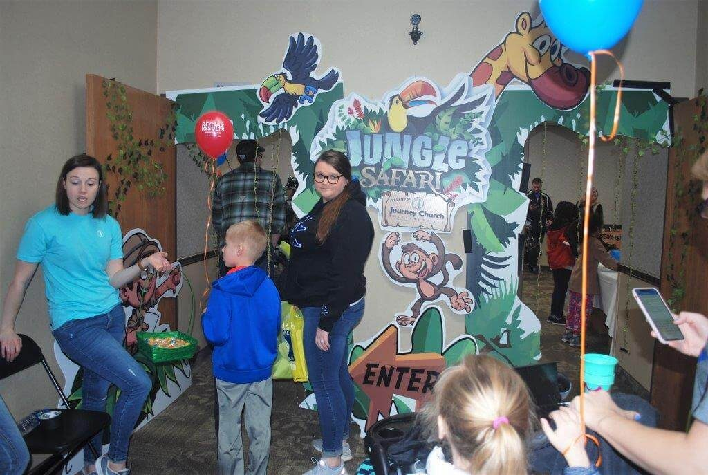 2019 KidsFest - Children prepare to enter the Jungle Safari hosted by Journey Church