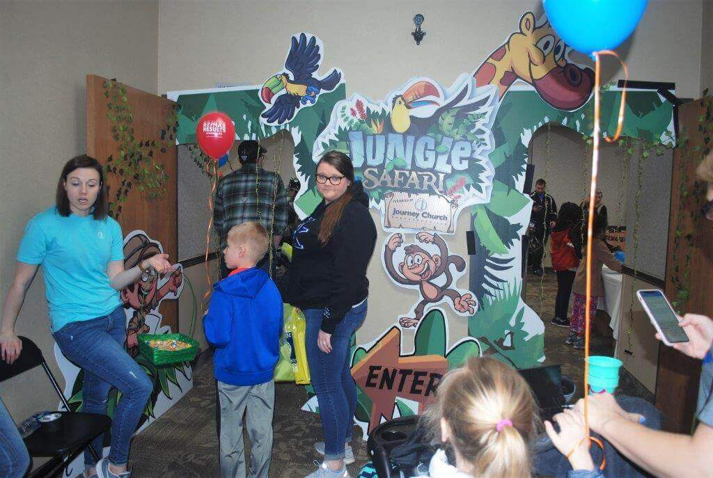 2019 KidsFest - Children prepare to enter the Jungle Safari hosted by Journey Church