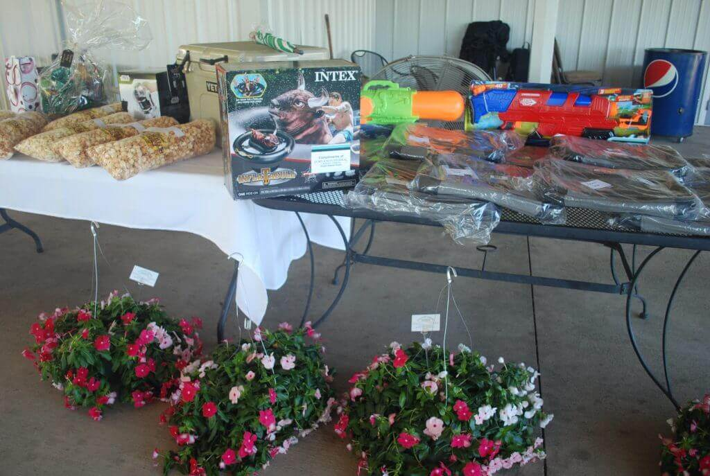 A table full of door prizes