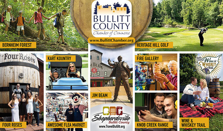Collage featuring attractions in Bullitt County, KY such as Bernheim Forest, Heritage Hill Golf Course, Four Roses Distillery, Kart Kountry, Jim Beam Distillery, Fire Gallery, Knob Creek Gun Range, and Wine & Whiskey Trail