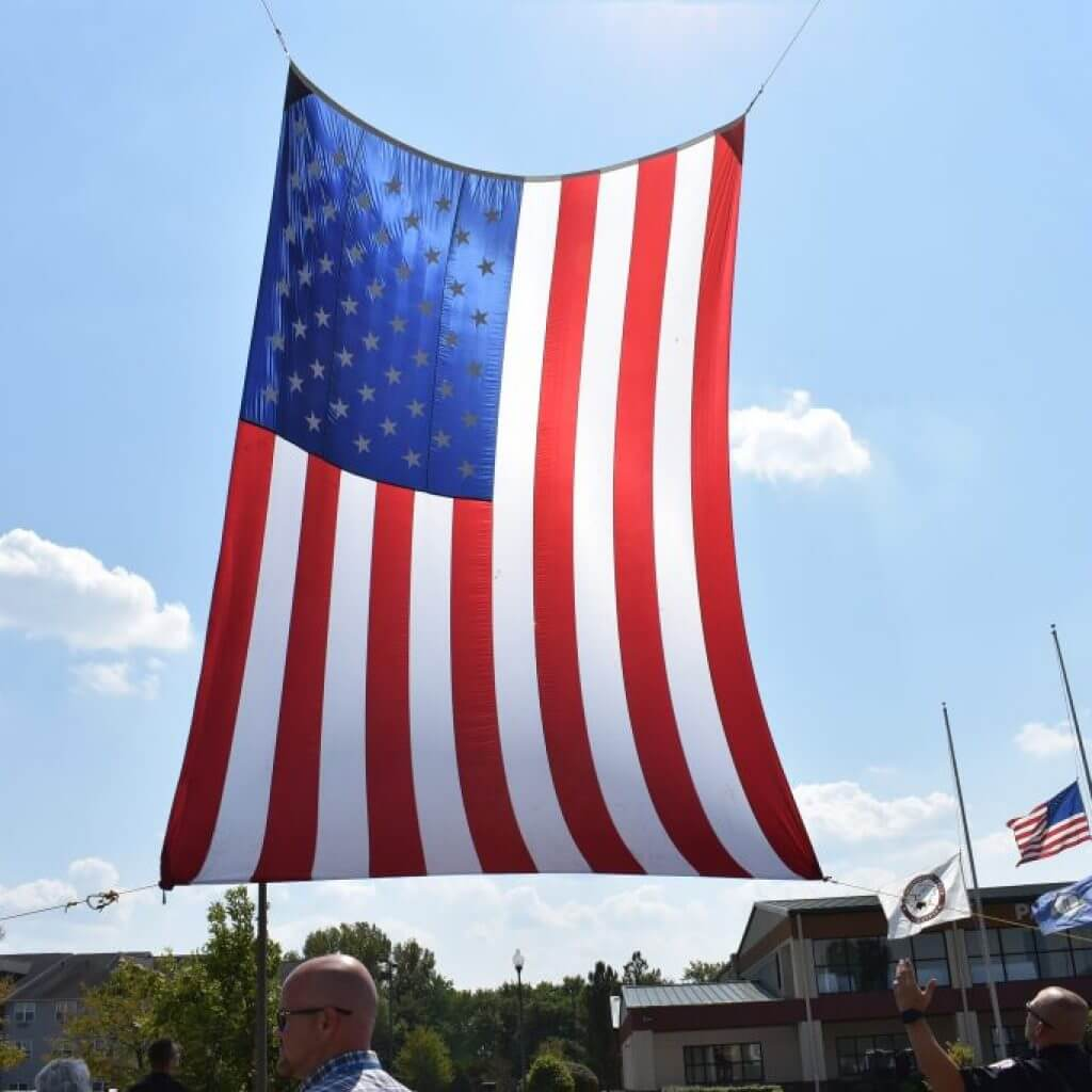 Beautiful American Flag provided by Shepherdsville Fire District and Zoneton Fire District.